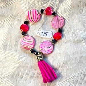 Hot pink Tassel bracelet